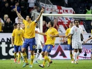 Ибрагимович забил четыре гола Англии в товарищеском матче