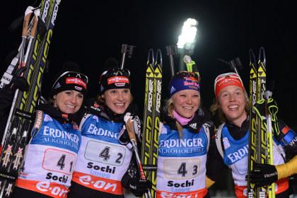 Женскую эстафету в Сочи выиграли немецкие биатлонистки