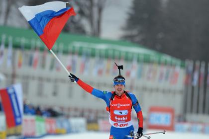 Российские биатлонисты стали первыми на эстафете в Сочи