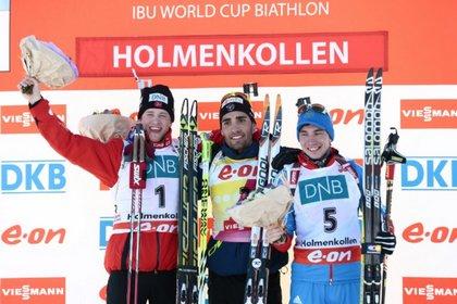 Российский биатлонист стал третьим в гонке преследования в Норвегии