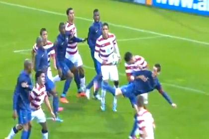 Французский футболист забил гол пяткой в верхний угол