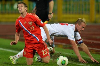 Сборная России выиграла отборочный матч ЧМ-2014 с крупным счетом