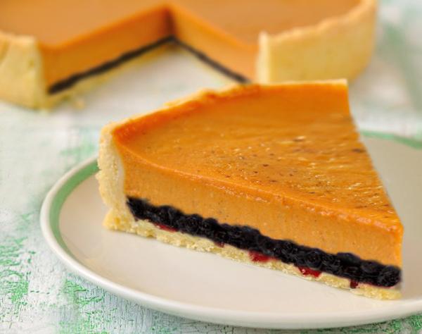 Пирог с тыквенно-творожной начинкой