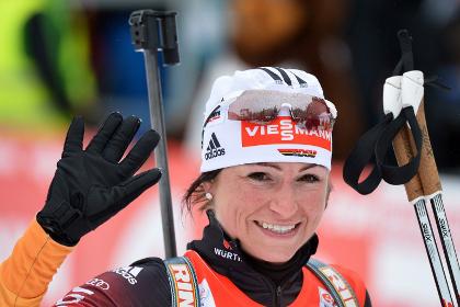 Предолимпийскую гонку преследования выиграла немецкая биатлонистка