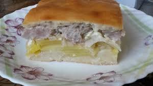Пирог картофельный с маринованными шампиньонами холодный