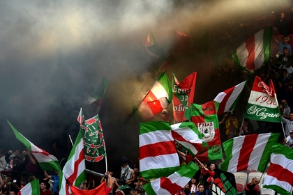Фанаты «Рубина» развели костер из кресел на «Казань-Арене»