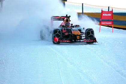 Пилот «Формулы-1» спустился на болиде по горнолыжной трассе