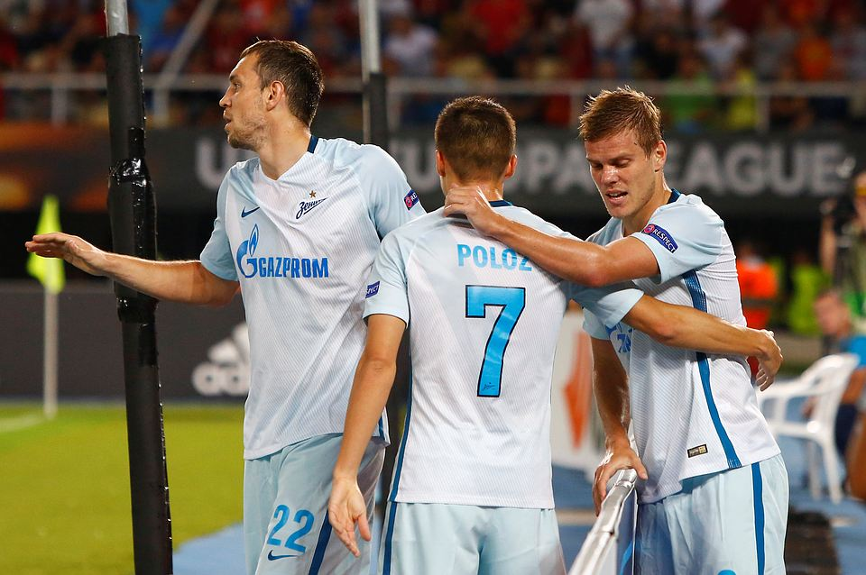 «Зенит» разгромил македонский «Вардар» 5:0 в Лиге Европы, Кокорин забил дважды