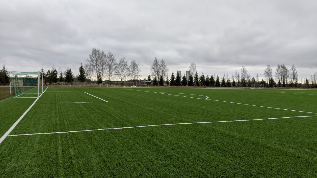 В Красном уложили новое покрытие футбольного поля спортшколы